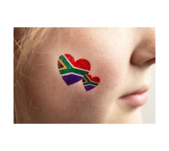 SA Flag Hearts Temporary Tattoos (Pack of 24)