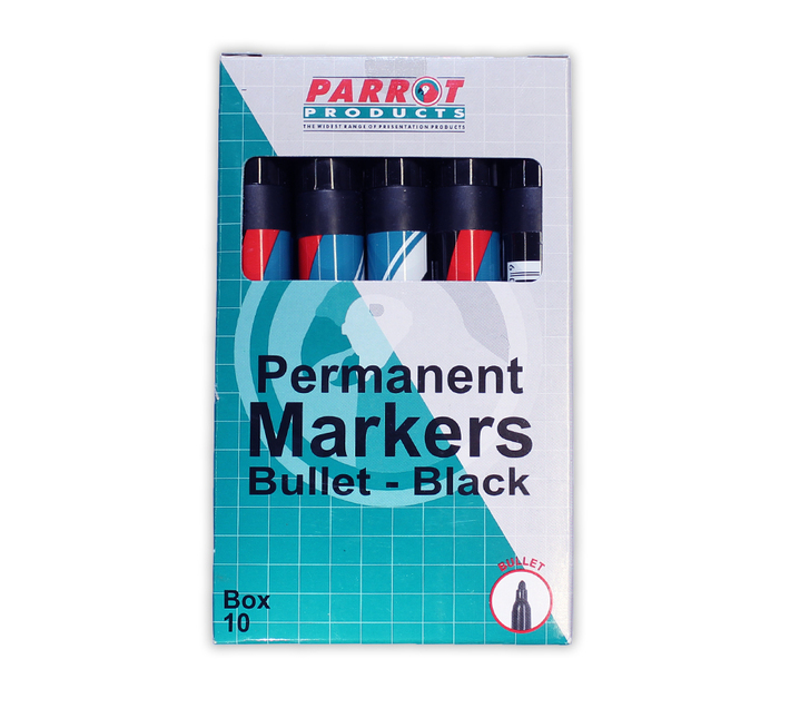 PARROT PRODUCTS Permanent Markers (Bullet Tip, Box 10, Black)