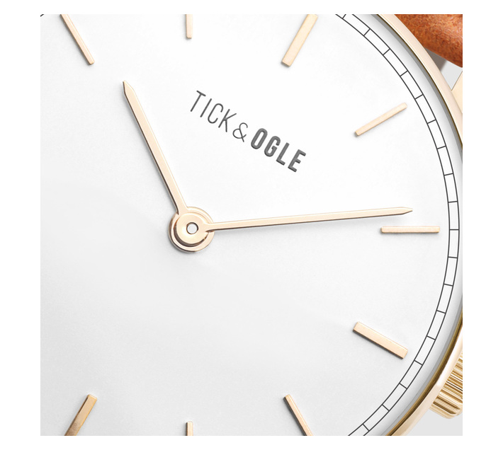 Tick & Ogle Mens Watch with Bold White Dial & Cognac Leather Strap