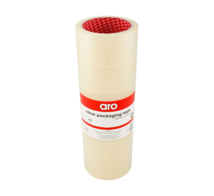 ARO 48 mm x 50 m Clear Packaging Tape 6-Pack Clear