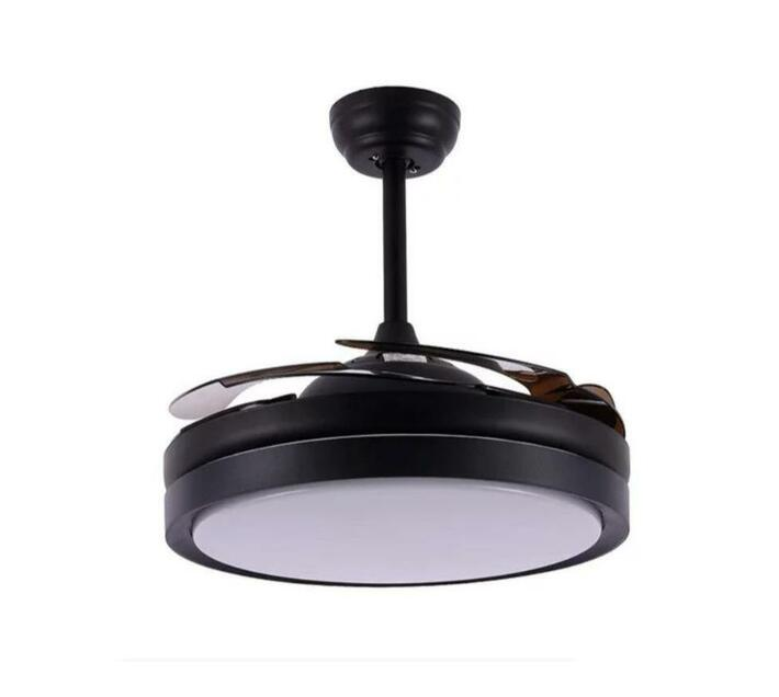 Remote Control Auto Folding Invisible Ceiling Fan - Black