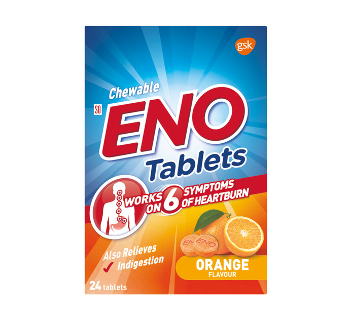 ENO Heartburn & Antacid Tablets Orange (6 x 24's)