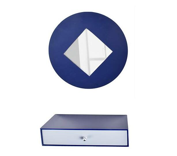 Mirror and drawer set-navy