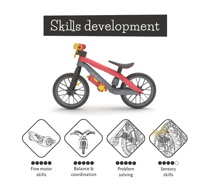 Balance Bike Chillafish BMXie Moto 12'' Lightweight ,Footrest, Play Motor ,Ages 2 -5,VROOM sounds and fix-your-engine play fun, Airless Rubberskin Tires ,MTB-Designed bike frame RED