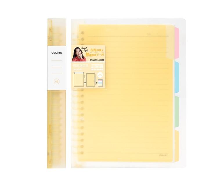 Deli Stationery Loose-Leaf Notebook A5, 60Sheets Asst.