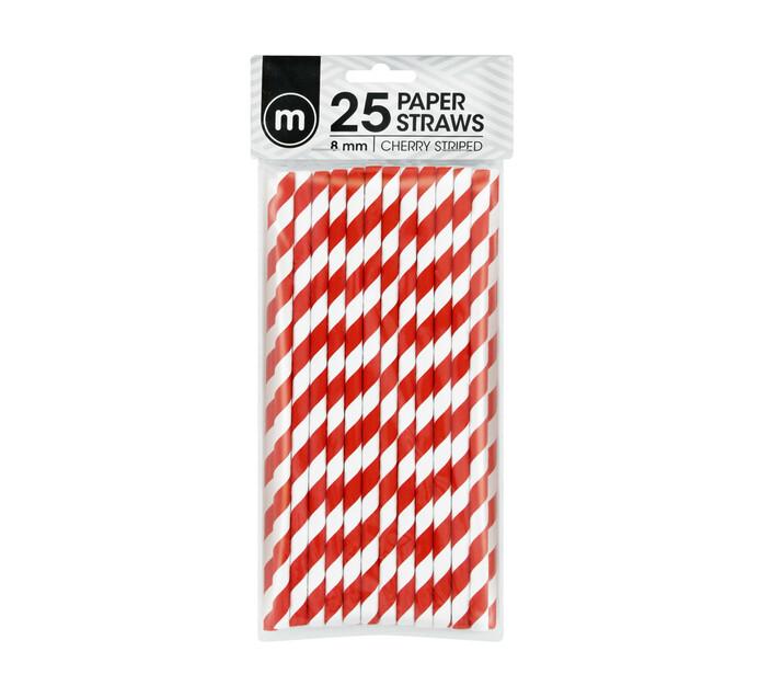 M Brand Paper Straws Striped 8mm Cherry (1 x 25's)