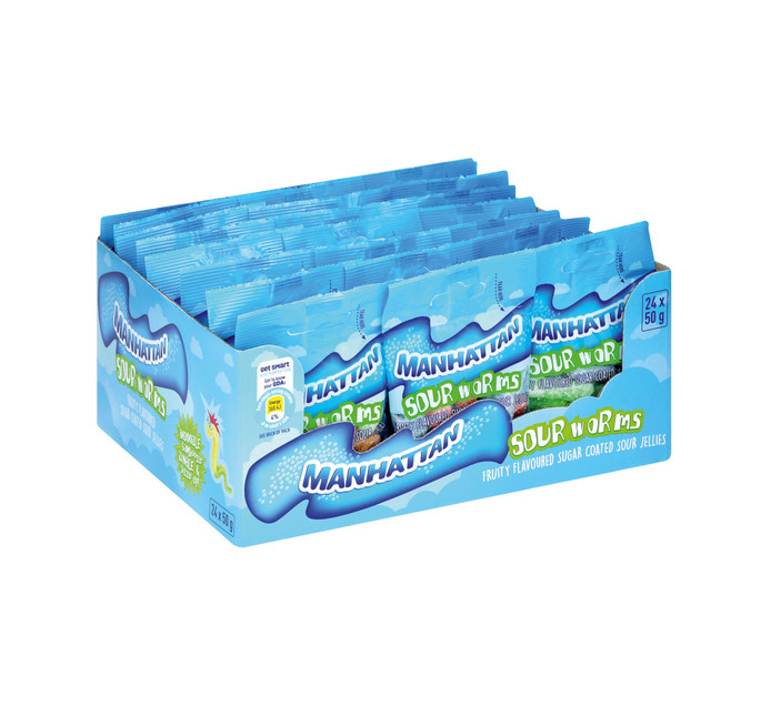 MANHATTAN Mini Prepacks Mini Sour Worms (24 x 50g)