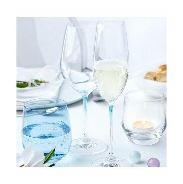 Leonardo Clear Champagne Glass with Blue Stem LA Perla Set of 2