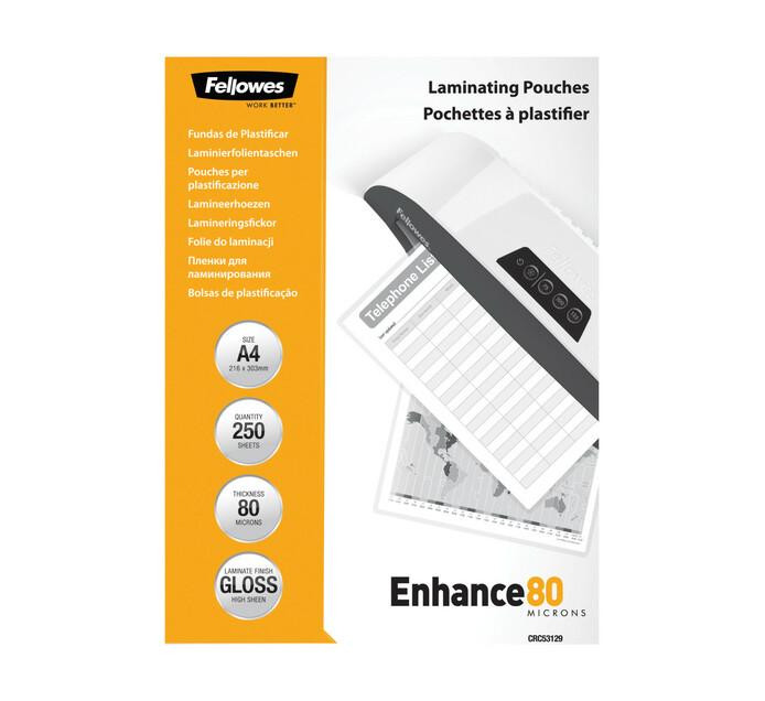 Fellowes A4 Enhance 80 Micron Gloss Laminating Pouches 250-Pack