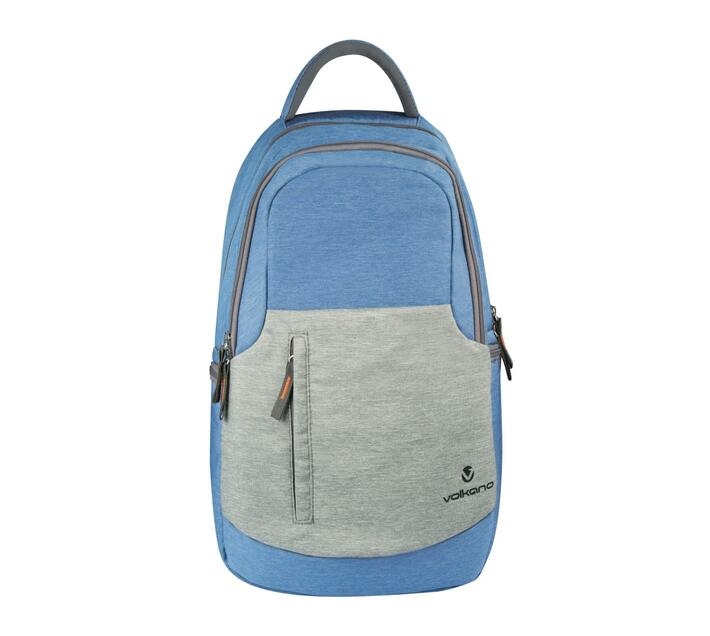 Volkano Breeze Series 15.6` Backpack in Blue and Grey with Laptop Compartment and Side Pockets great for water bottles or other essentials