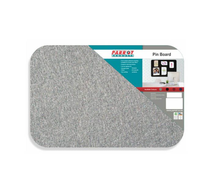 Parrot 450 x 300 Products Pin Board No Frame Grey Single