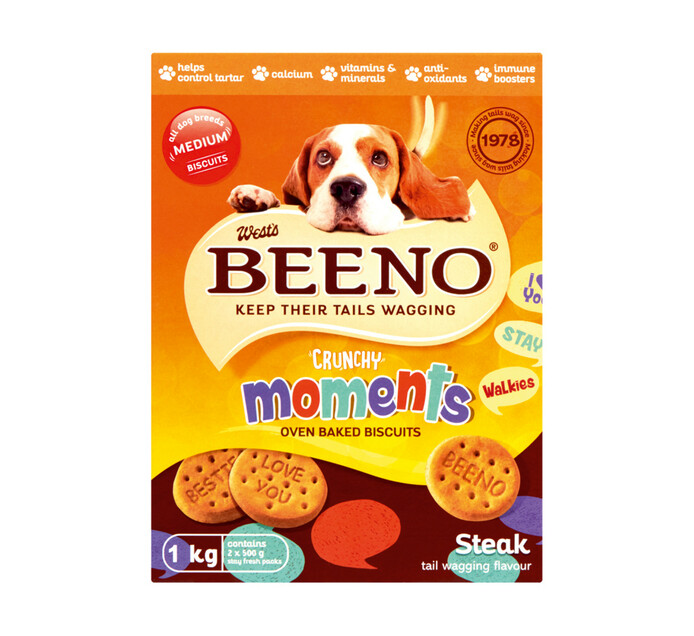 Beeno Dog Biscuits Large Steak (12 x 1kg)
