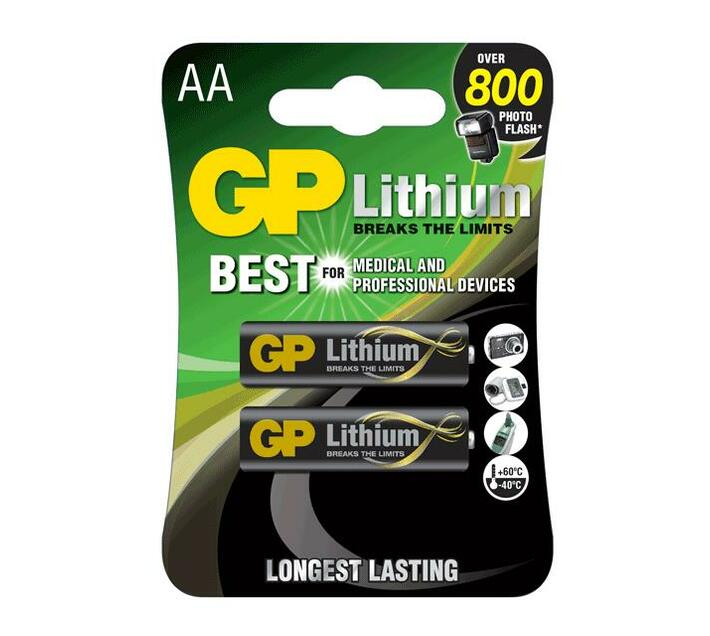 GP Lithium AA 1.5V Card of 2
