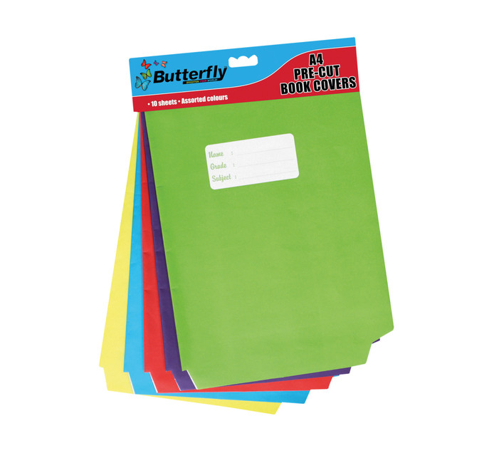 Butterfly A4 Pre-Cut Book Covers Assorted Brights 10-Pack