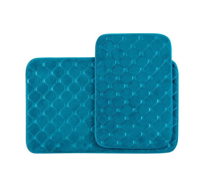 Waltex Pebbles Memory Foam 2-Piece Set Teal blue