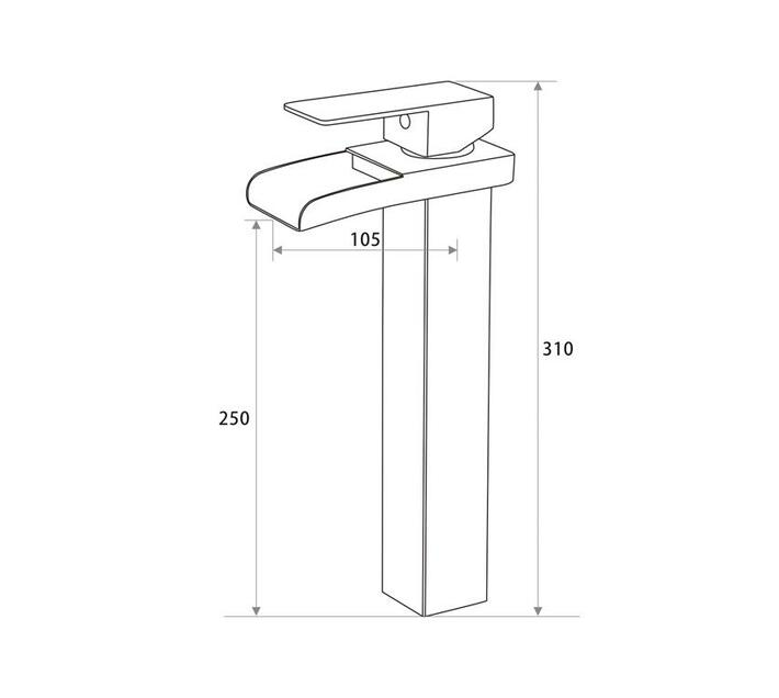 CHROMECATER Basin Mixer Tall Square Waterfall Spout Brushed S/Steel