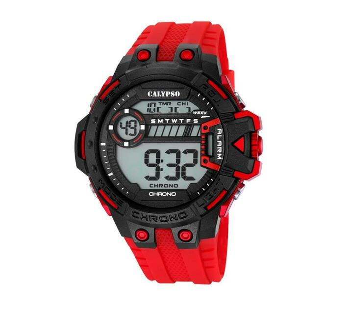 Calypso Digital Mens Sports Chrono Alarm Watch - Red