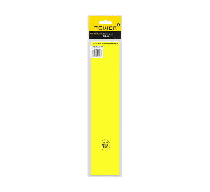 Tower Lever Arch Labels Fluorescent Lime 12-Pack Fluorescent lime