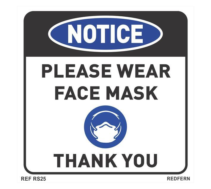 Redfern Signs - Please Wear Face Mask