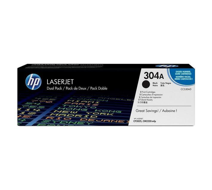 HP 304A 2-pack Black Original LaserJet Toner Cartridge CC530AD