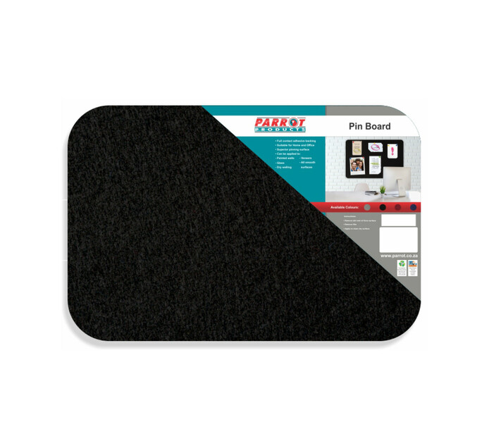 Parrot 600 x 450 mm No Frame Pin Board Black
