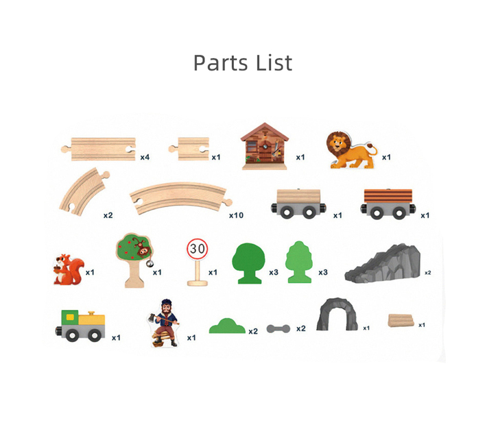Kids Wooden Train Track Set with Accessories