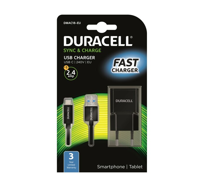 DURACELL 2.4 AMP TYPE C WALL CHARGER