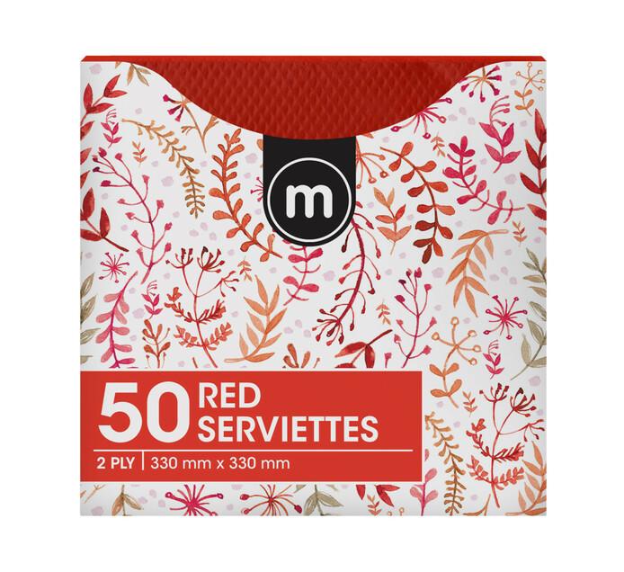 M Brand Serviettes 2Ply 330mmx330mm Red (1 x 50's)