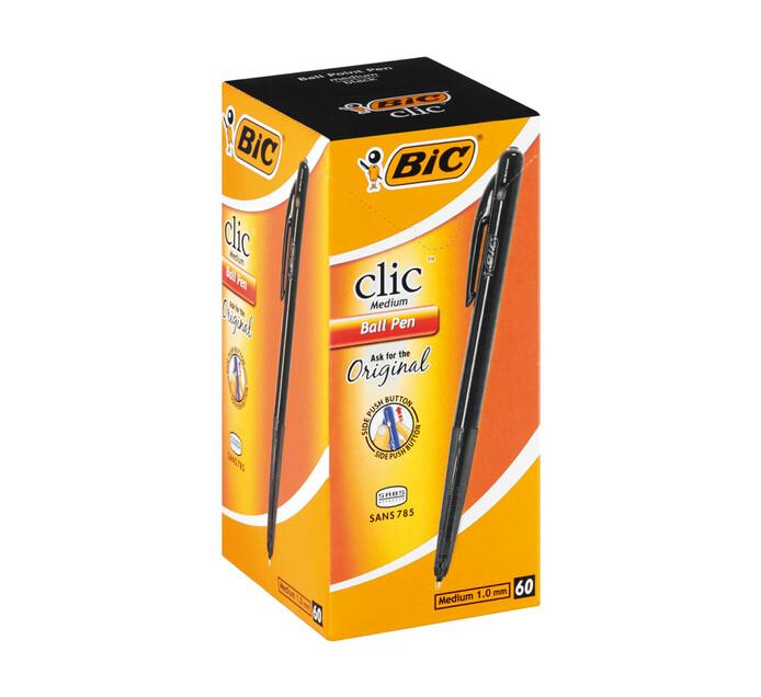 BIC Clic Ballpoint Pens Black 60-Pack