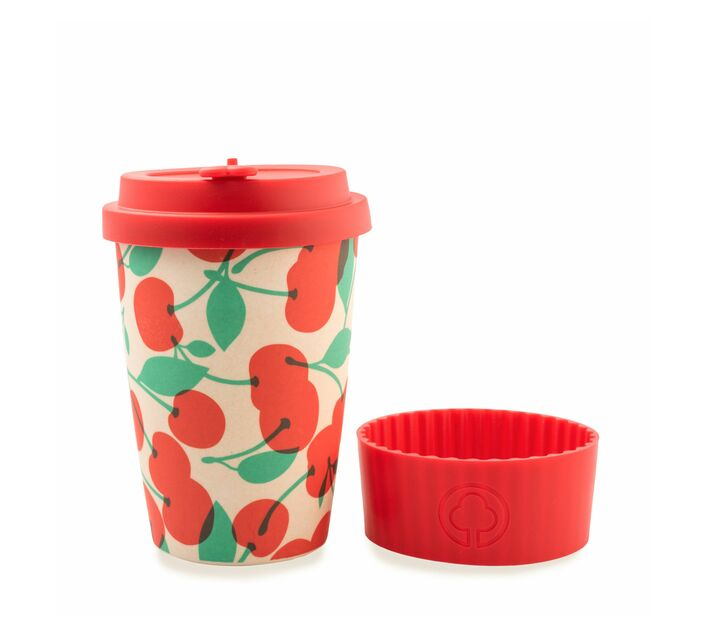 Bamboo Eco Cup 400ml Cherry