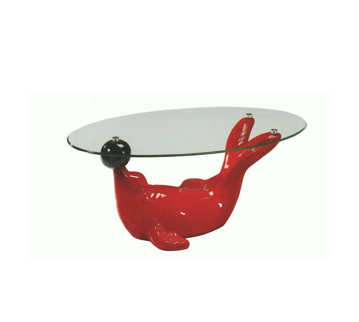 Red Dolphin shaped glass table