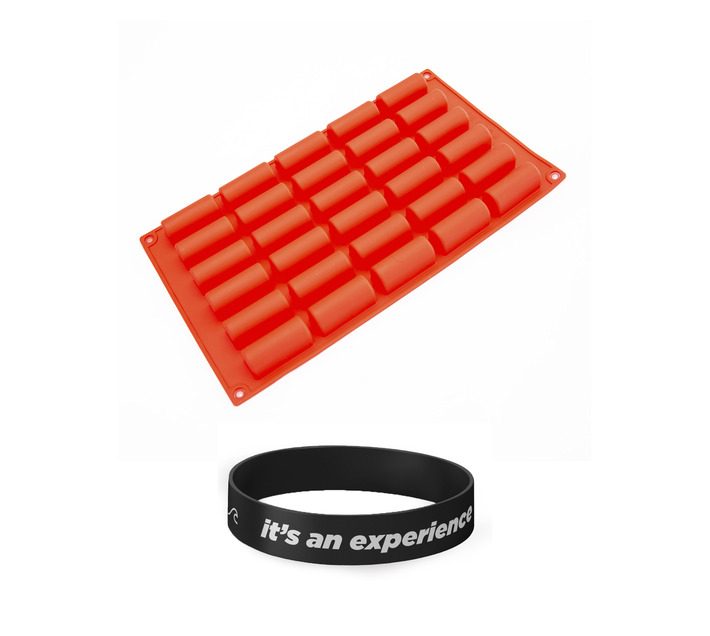 Killerdeals French Pastry 30 mini Buche Silicone Baking Mould – Red + Wristband