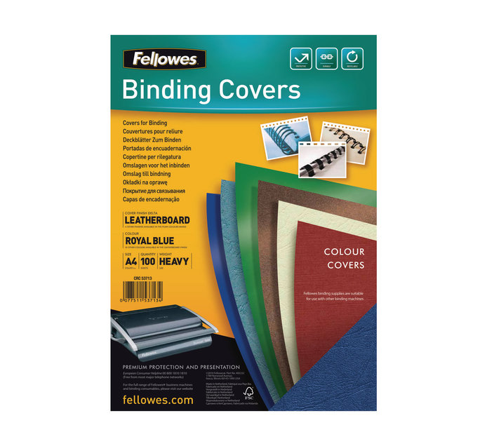 Fellowes A4  100PK LEATHER BOARD BLUE 100PK