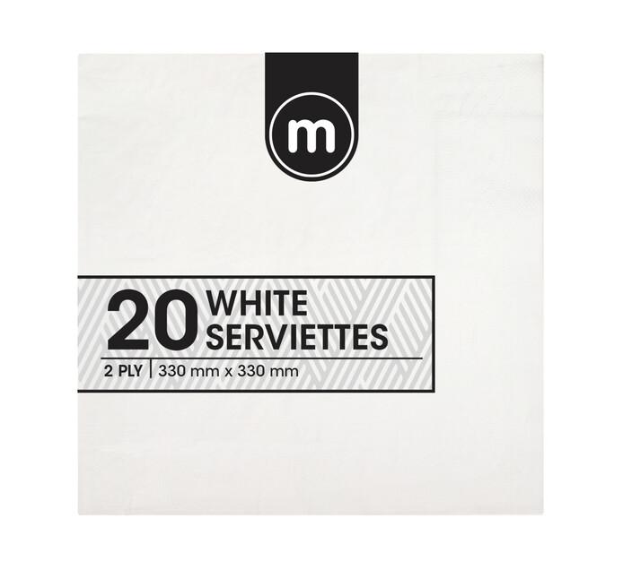 M Brand Serviettes 2 PLY White (1 x 20's)