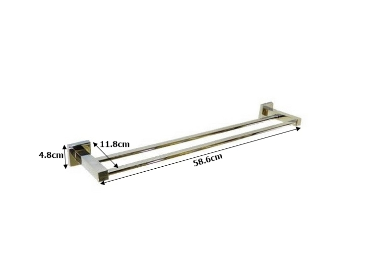Towel Rod Double Square Stainless Steel