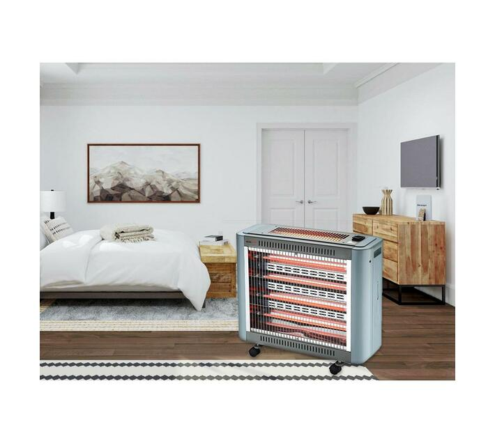 2000W Five Bar Wheeled Quartz Heater with Top Bar, Fan & Humidifier - Grey