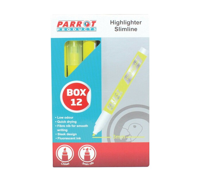 PARROT MARKER HI LIGHTER SLIM BOX 12 YEL