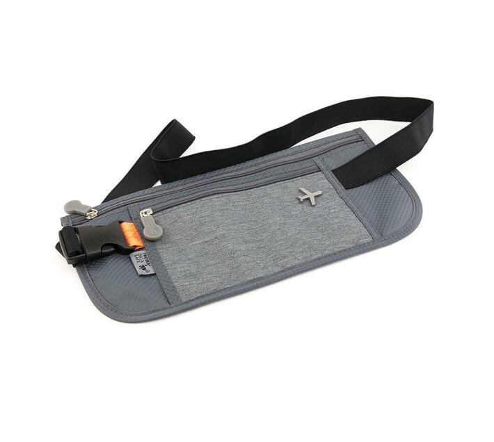 Troika Belt Bag with 2 Compartments and RFID Protection Safety Belt Grey