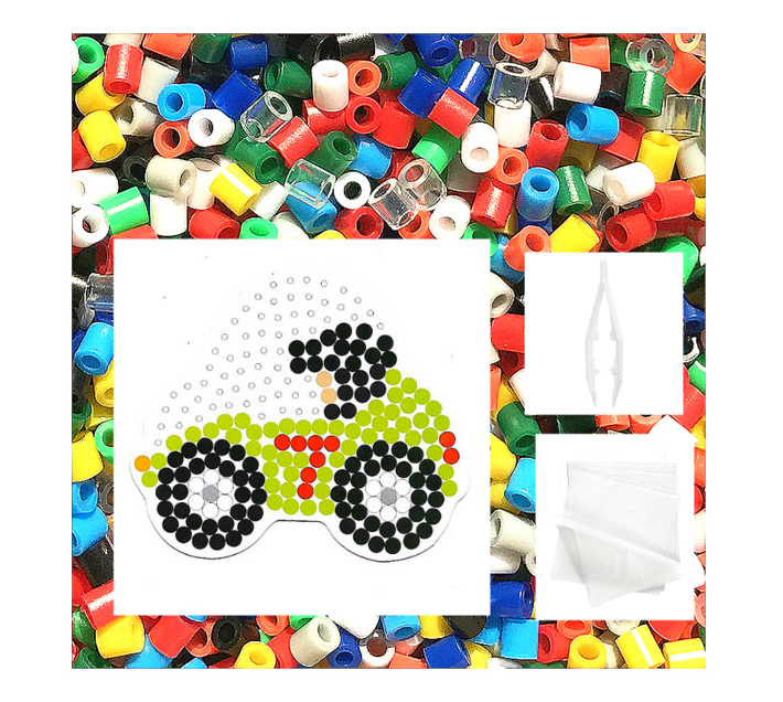 JKA - Iron On Bead Craft Toy - Double Combo Kit - Tractor & Racing Car