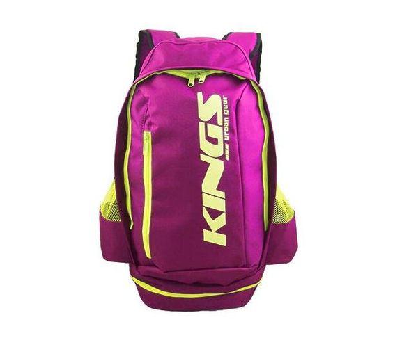 2619 Hot pink A-Symmetrical kings urban gear printed logo sports backpack