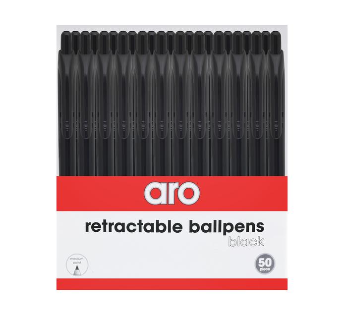 ARO Ballpoint Pens Black 50-Pack Black