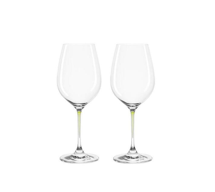 Leonardo Clear Wine Glass with Green Stem LA Perla Set of 2