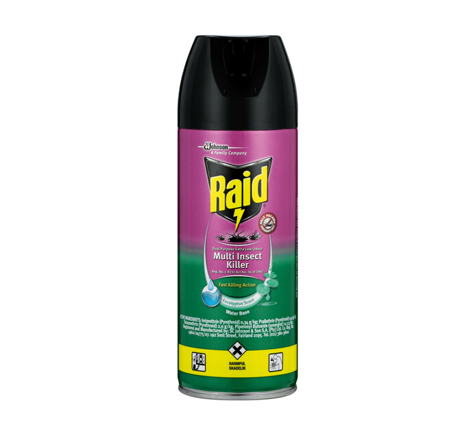 Raid Insect Spray Low Odour Eucalyptus (6 x 300ml)