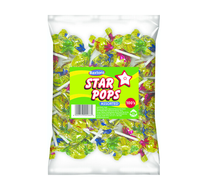 Baxtons Star Pops Lollies Assorted (10 x 100's)