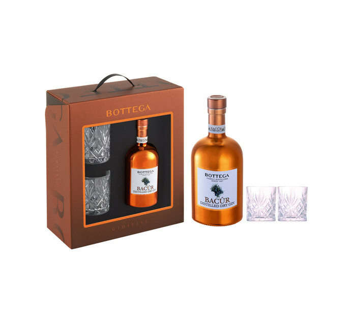 Bottega Bacur Gin and 2 Glasses in Giftpack (1 x 500ML)