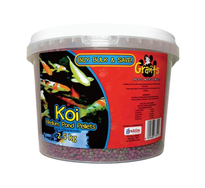 GRANTS Koi Medium Pond Pellets Bucket (1 x 2.5kg)