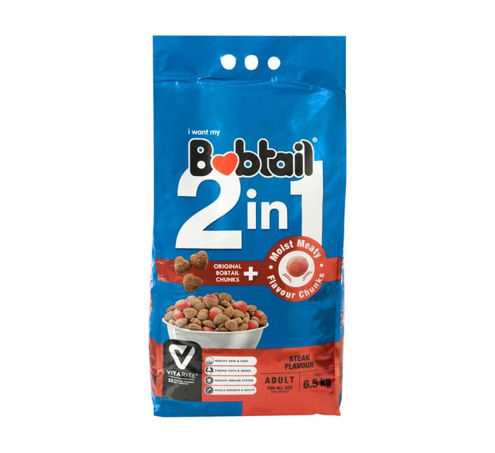 Bobtail 2 IN 1 Adult Dry Dog Food Moist Meaty Steak Chunks (1 x 6.5kg)