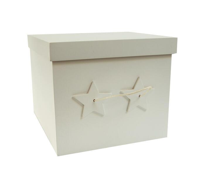 Large Star Storage Box Rope Handle White - Wood