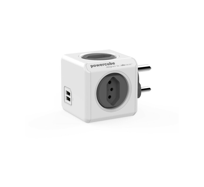 Allocacoc PowerCube 4-Way Multiplug with 2 USB