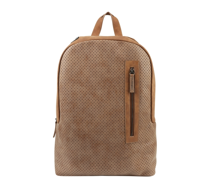 Volkano Punk Series 15.6` Fashion Backpack in Tan with Laptop Compartment and Adjustable Shoulder Straps